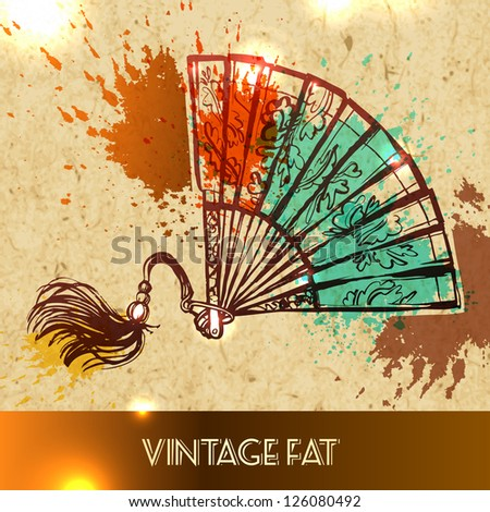 Women's old fan - vector illustration sketch on paper background - stock vector