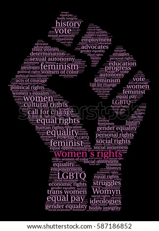 Womens Rights Word Cloud On Black Stock Photo Photo Vector