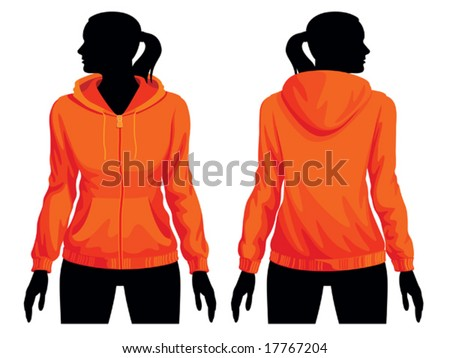 Women's sweatshirt template with human body silhouette - stock vector