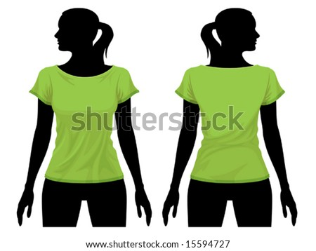 Women's t-shirt template with human body silhouette - stock vector