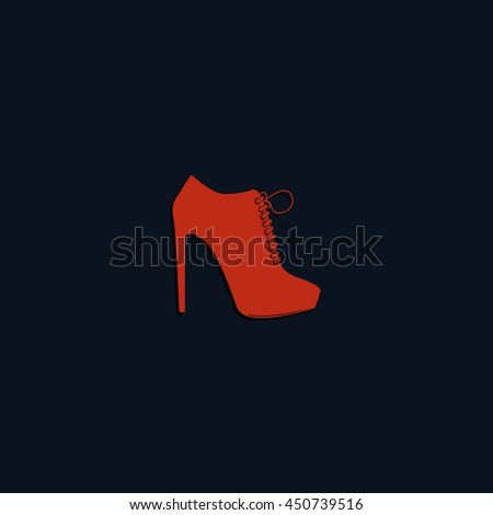 Women shoe high heel icon. Footwear with shoelaces illustration. - stock vector