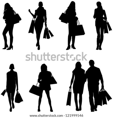 Women Shopping Silhouettes - vector eps10 - stock vector