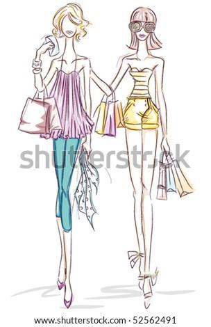 Women Shopping Sketch - Vector - stock vector