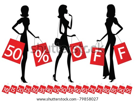 "women shopping with inscription ""50 % OFF"" on their bags. Also bags  with different percents on the bottom. - stock vector"