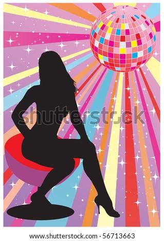 Women silhouette in club - stock vector