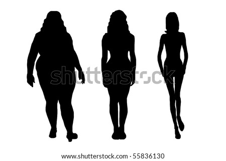 women silhouettes isolated on white - stock vector