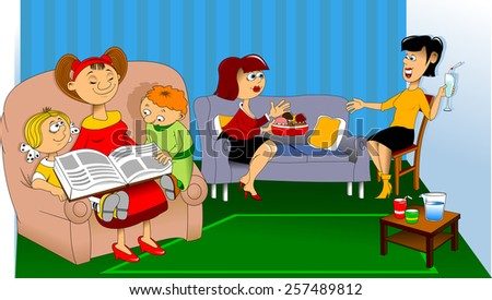 Women sit on the couch and talk; children read a book - stock vector