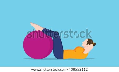 women sit up use exercise ball vector graphic illustration - stock vector
