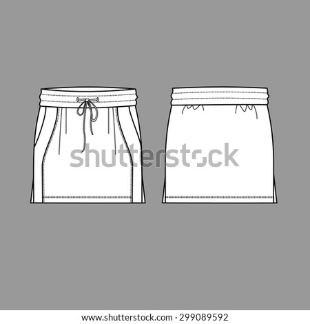 Women skirt isolated vector, front and back - stock vector