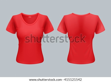 Women T-Shirt Template Back and Front Views in Red - stock vector