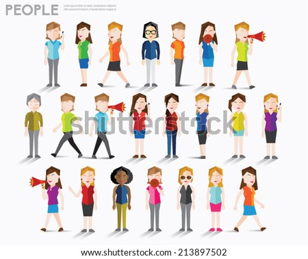 Women talk and gather together vector design - stock vector