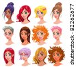 Women. Vector isolated characters: Hair, Eyes, Mouth Faces and Objects are isolated and interchangeable - stock
