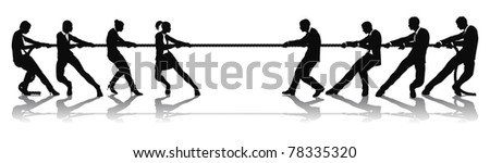 Women versus men business tug of war competition concept. Could be related to battle of the sexes or wage equality issues. - stock vector