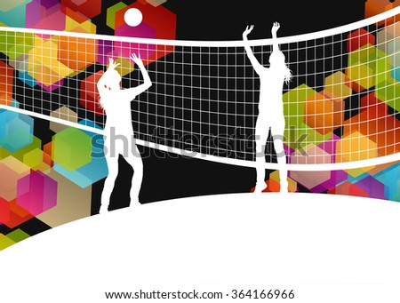 Women volleyball player silhouettes in sport abstract vector background illustration - stock vector
