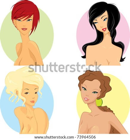 Women with hairstyle based on their personality. - stock vector