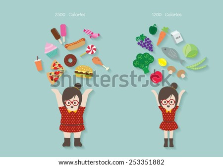 Women with junk food and healthy food vector cartoon. - stock vector