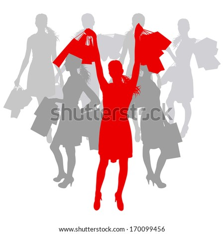 Women with shopping bags vector background abstract concept - stock vector