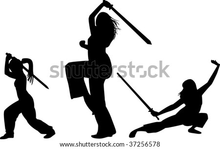 Women with swords on white background - stock vector