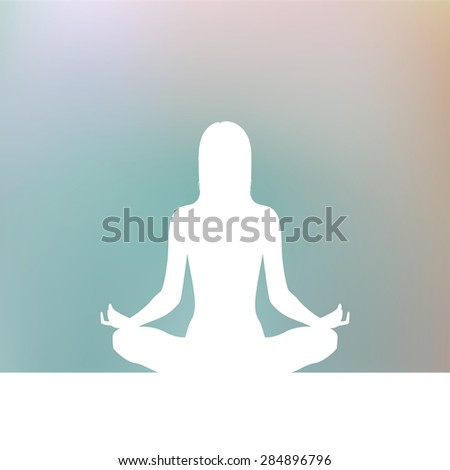 women yoga and blue background, vector - stock vector