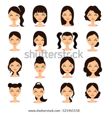 Womens Hairstyles Beautiful Young Girl Various Stock Vector 521465158 Shutterstock