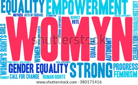 Womyn word cloud on a white background. Nonstandard spelling of women adopted by feminists.