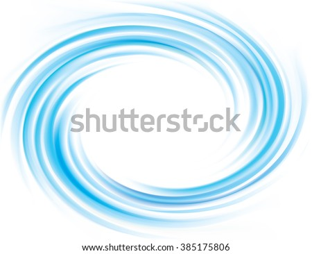 Wonderful modern decorative fluid rippled curvy cyan ring fond card pattern. Eddy air volute surface gentle turquoise color with space for text in glowing soft shiny milk center in middle of funnel - stock vector