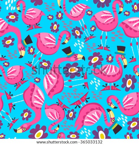 Wonderful pattern of pink flamingo and flowers.