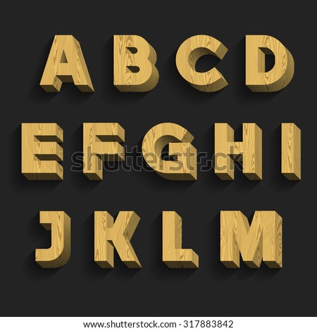 Wood Alphabet Vector Font. Part 1 of 3. Letters A - M. 3D wooden letters with shadow on a dark background. - stock vector