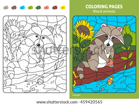 Wood Animals Coloring Page For Kids Raccoon Printable Design Book Puzzle