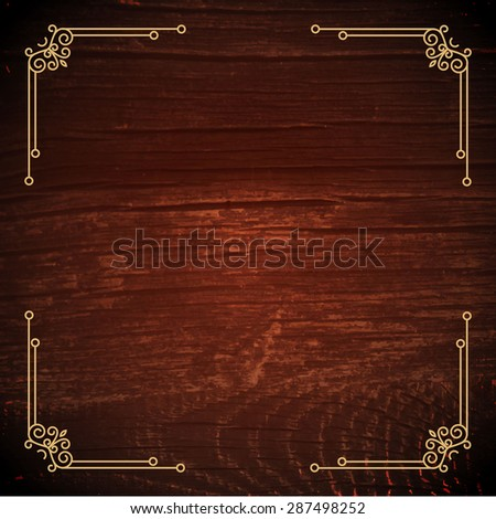 Wood background with mono line elements. Vector illustration   - stock vector