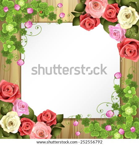 Wood background with sheet of paper, clover and roses - stock vector