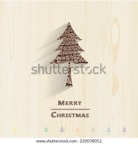 Wood christmas tree and shadow on background. Eps vector. - stock vector