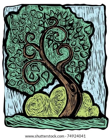Wood cut tree - stock vector