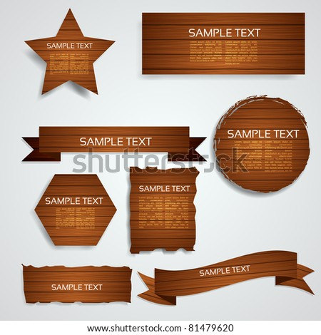 Wood Elements Collection - EPS10 Vector Design - stock vector