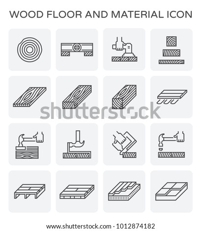 Wood floor and construction tool  icon set.