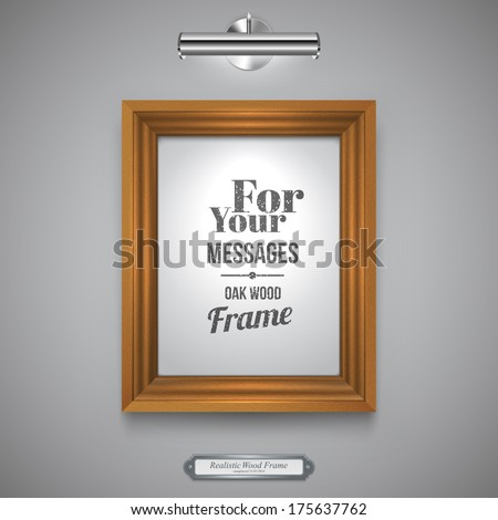 Wood Frame for Picture, Rectangle Wood Border and Lamp on a Wall, Vector Illustration - stock vector