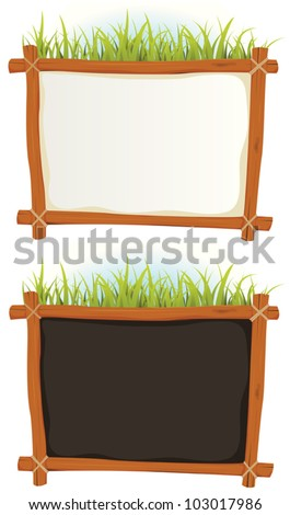 Wood Frame With Sign/ Illustration of a set of two cartoon wood frame with blank white and black sign for  announcement and advertisement - stock vector