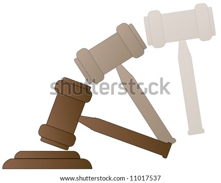 wood gavel hammer of auctioneer or judge with motion - vector - stock vector