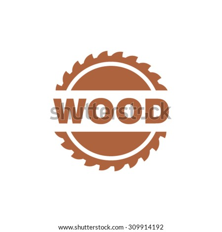 Wood industry symbol with saw in circle - stock vector