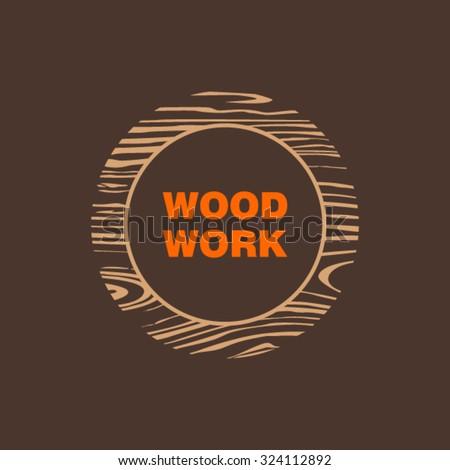 Wood Logo - stock vector