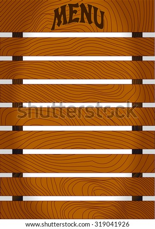 Wood menu board, brown planks, vector illustration - stock vector