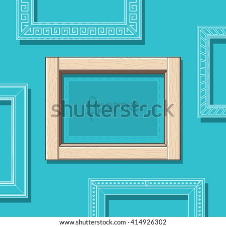 Wood picture frame flat vector. Stylish beige photo frame on blue wall. Painting frame set. Template. - stock vector