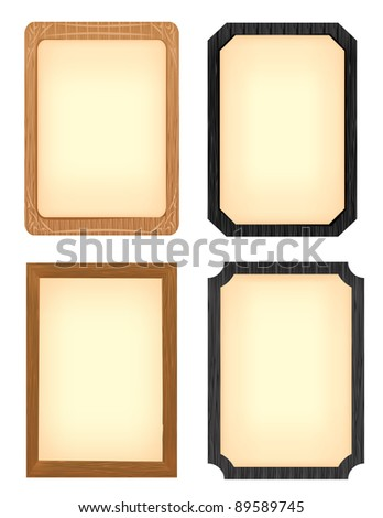 Wood Picture frame set - stock vector