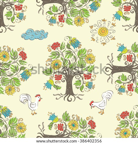 Wood, roosters, sun and cloud in the ethnic style - vector seamless pattern