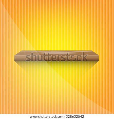 wood shelf on abstract yellow background vector illustration eps10  - stock vector