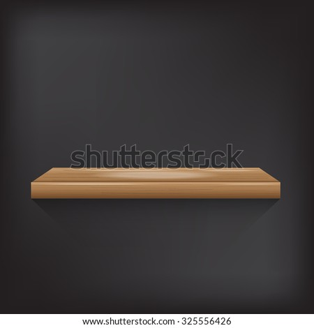 wood shelf on grey background vector illustration eps10 on white background