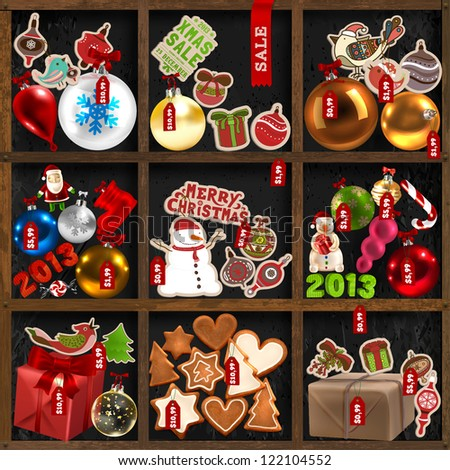 Wood shelves with Christmas goods: baubles, gifts, birds, snowman, Santa Claus, mistletoe, holly berries, candy canes, gingerbread trees, hearts and mans, labels and ribbons - set for Xmas design - stock vector