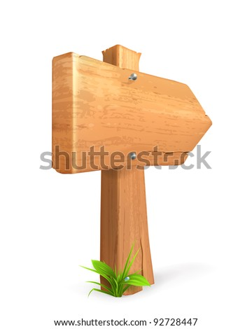 Wood sign, 10eps - stock vector