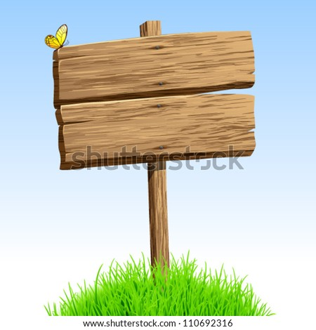 Wood  signboard  vector background