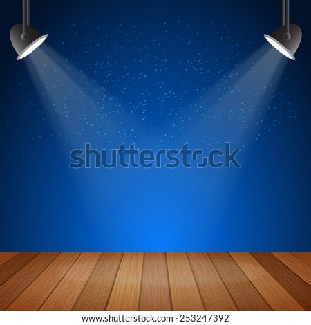 wood stage with spotlights. Vector illustration eps10 - stock vector